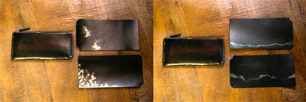 左写真:図案師古城さんの作品『ひかり』。  右写真:イラストレーター清水さんの作品『景』